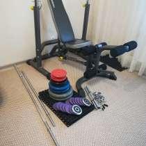Комплект:скамья, стойки, штанга и гантели (90 кг), в Самаре