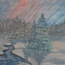Painting Winter evening oil acrylic varnish protective, в г.Campbell