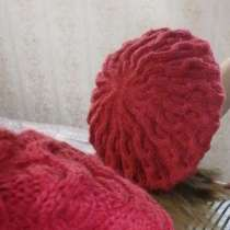 Берет вязаный красный шерсть 100%, в Апрелевке
