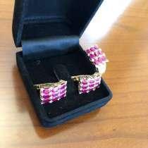 Комплект: серьги и кольцо с рубинами и бриллиантам, в Красноярске