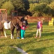Верховая езда ребенка на пони. Полесск, в Калининграде