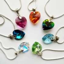 Кулоны сердечки с кристаллами Swarovski, в Москве