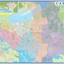 Настенная карта Самары 1,43х1,0 м, в Самаре