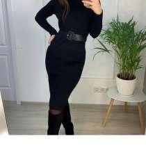 Платье новое чёрное М 46 вязаное футляр по фигуре миди зима, в Москве