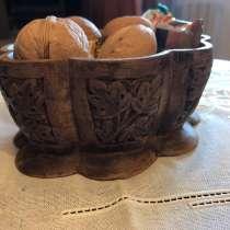 Вазочка конфетница деревянная резьба по дереву. Винтаж, в Москве