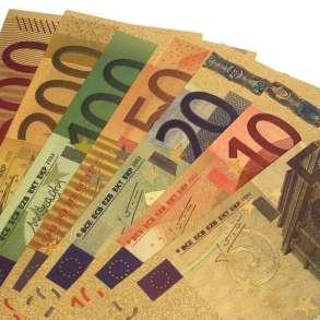 Набор из 7 позолоченных сувенирных банкнот 5-500 евро, в Санкт-Петербурге