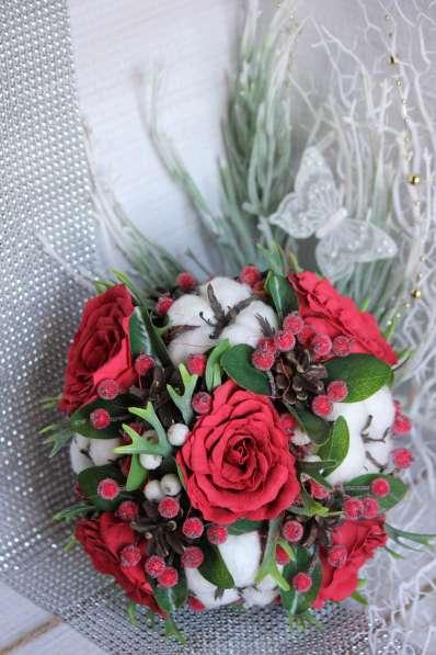 Свадебный зимний букет ручной работы