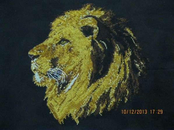 """Вышитая картина """"Профиль льва"""""""