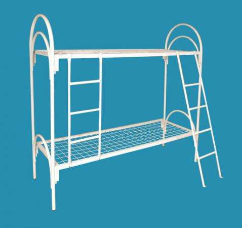 Двухъярусные железные кровати, для казарм, металлические кровати с ДСП спинками, кровати для бытовок, кровати по низкой цене.