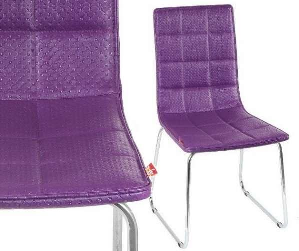 Стулья Олаф (фиолетовые) с хромированным каркасом