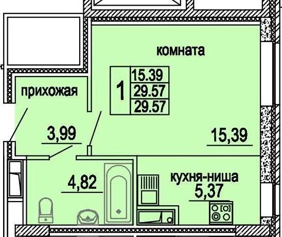 Продам 1 к-студию ЖК Центральный, Решетникова,24