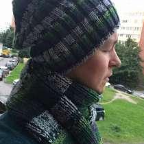 Мужской шарф и шапка. Ручная вязка., в Санкт-Петербурге