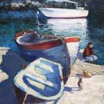 """Картина """"Три лодки"""", холст, масло, в Севастополе"""