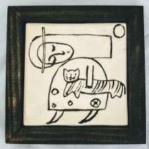 """Керамическая картинка """" Она — и Кошка. Древняя игра"""", в г.Иерусалим"""