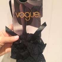 Чулки новые Vogue чёрные кружева оборка двойные хлопок, в Москве