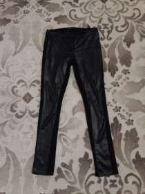 Женские брюки черные с кожаными вставками, в г.Алматы