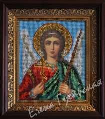 Икона Ангела Хранителя, вышита ювелирным бисером, в Москве