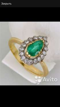 Кольцо с бриллиантами и изумрудом, новое, в Санкт-Петербурге