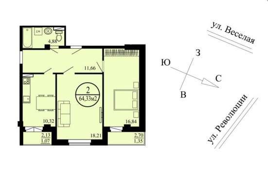 Продам 2-к кв.64м2, ЖК Изумрудный (ул. Революции, 2а)