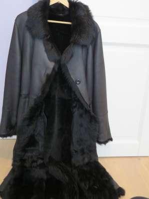 Дублёнка длинная чёрная с поясом