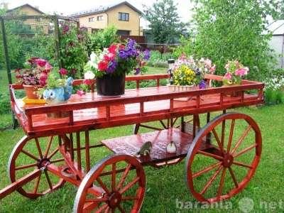 Деревянный велосипед для декора сада
