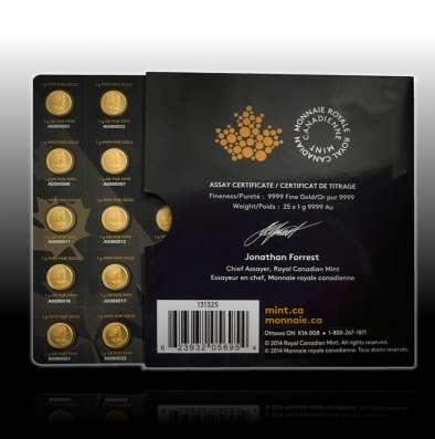 Канадский Кленовый Лист 1 грамм, золото, 999.9