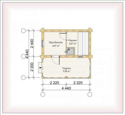 Дом (баня) из оцилиндрованного бревна d 220мм, площадью 3000×6000×2400мм