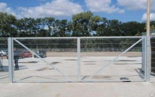 Ворота распашные из сварной 3Д сетки 1730х4000х3мм Цинк