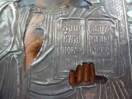Икона Господь Вседержитель оклад серебро эмаль в Орле Фото 1