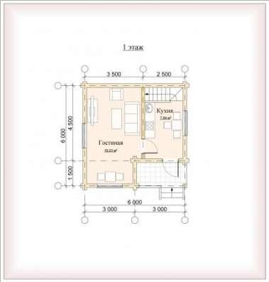Дом (баня) из бревна d 220мм, площадью 6000х6000х2400