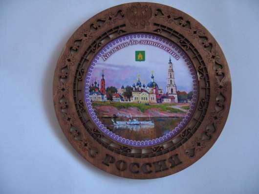 Сувенирная тарелка, деревянная, резная