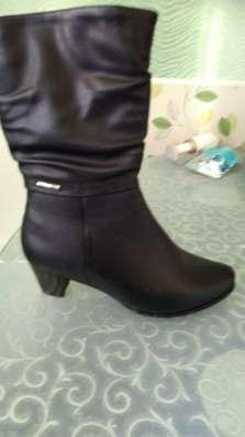 Сапоги 3/4 черные, каблук 4см, на полную ногу в Мурманске Фото 1